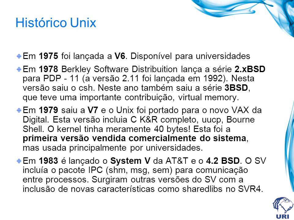Histórico Unix Em 1975 foi lançada a V6. Disponível para universidades