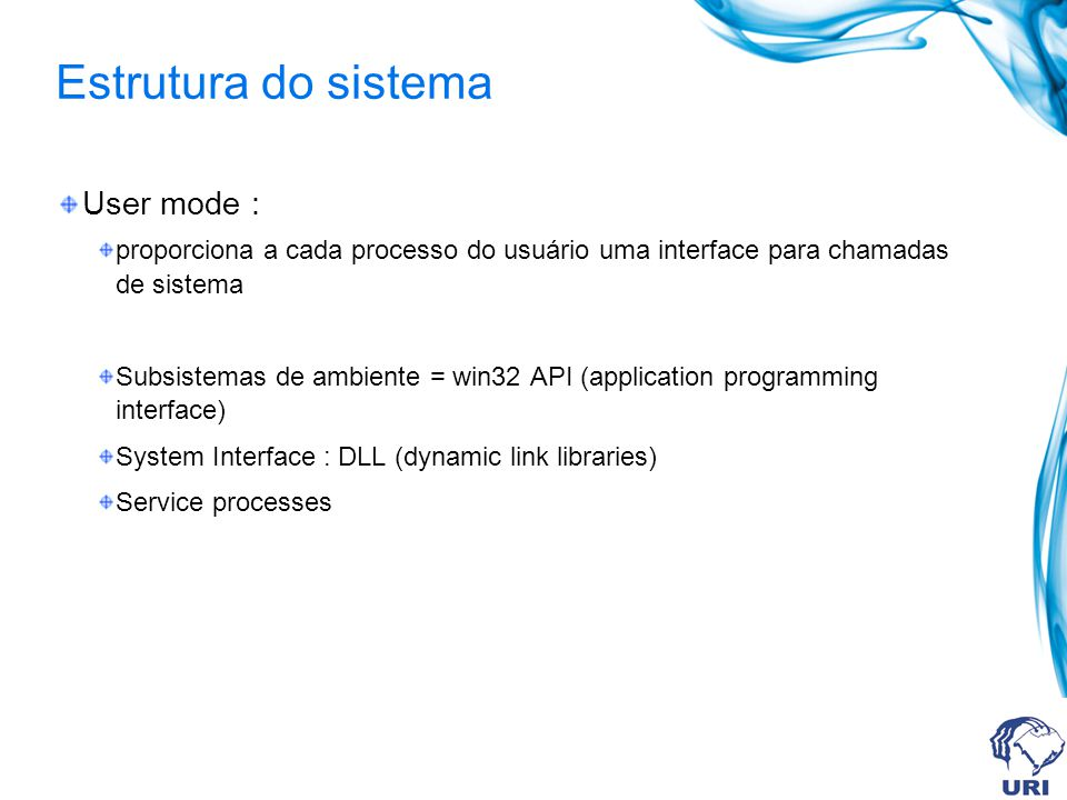 Estrutura do sistema User mode :
