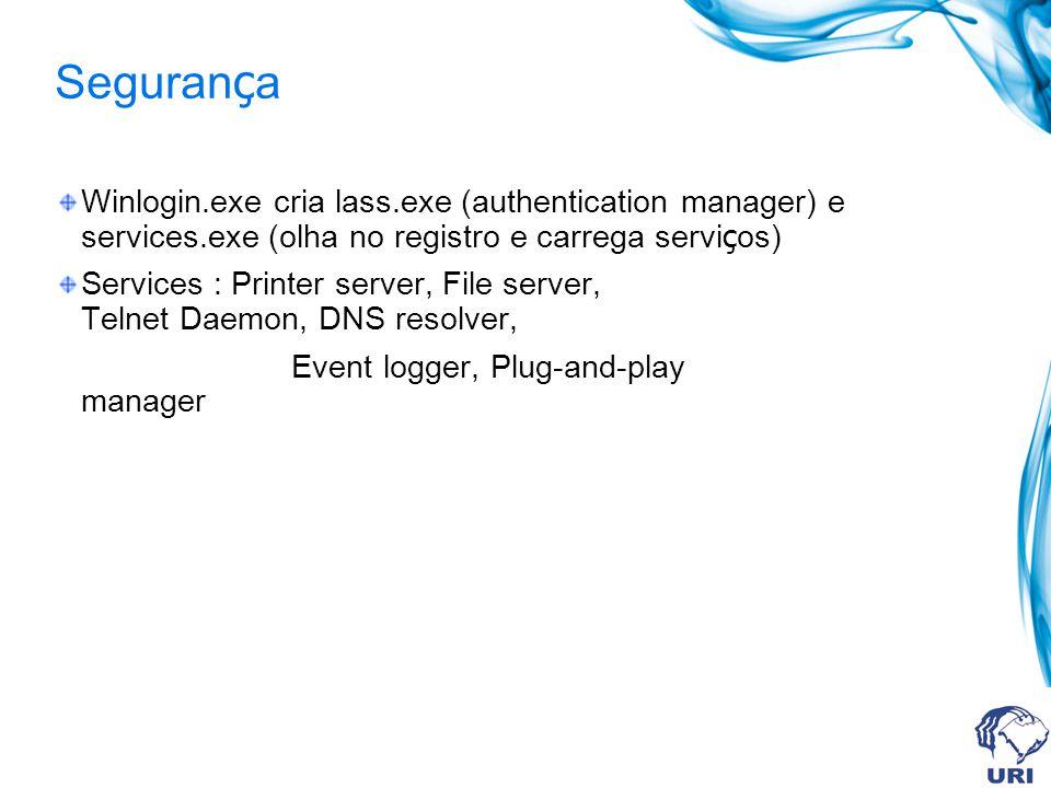 Segurança Winlogin.exe cria lass.exe (authentication manager) e services.exe (olha no registro e carrega serviços)