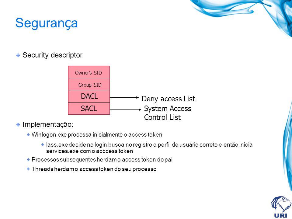 Segurança Security descriptor Implementação: DACL Deny access List