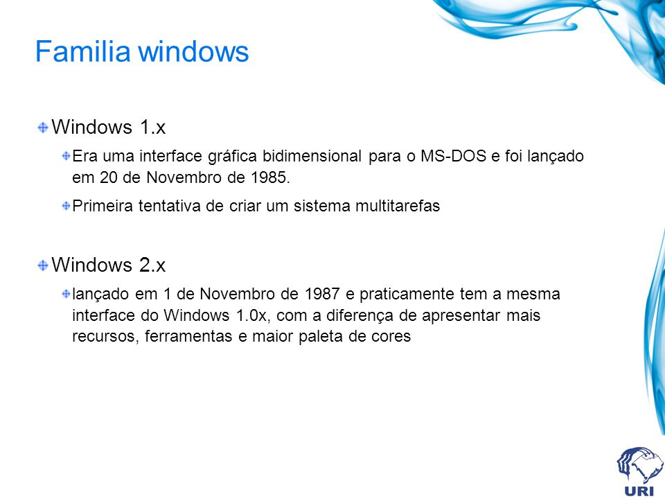 Familia windows Windows 1.x Windows 2.x
