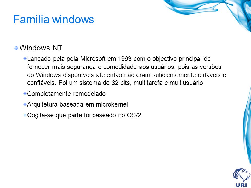 Familia windows Windows NT