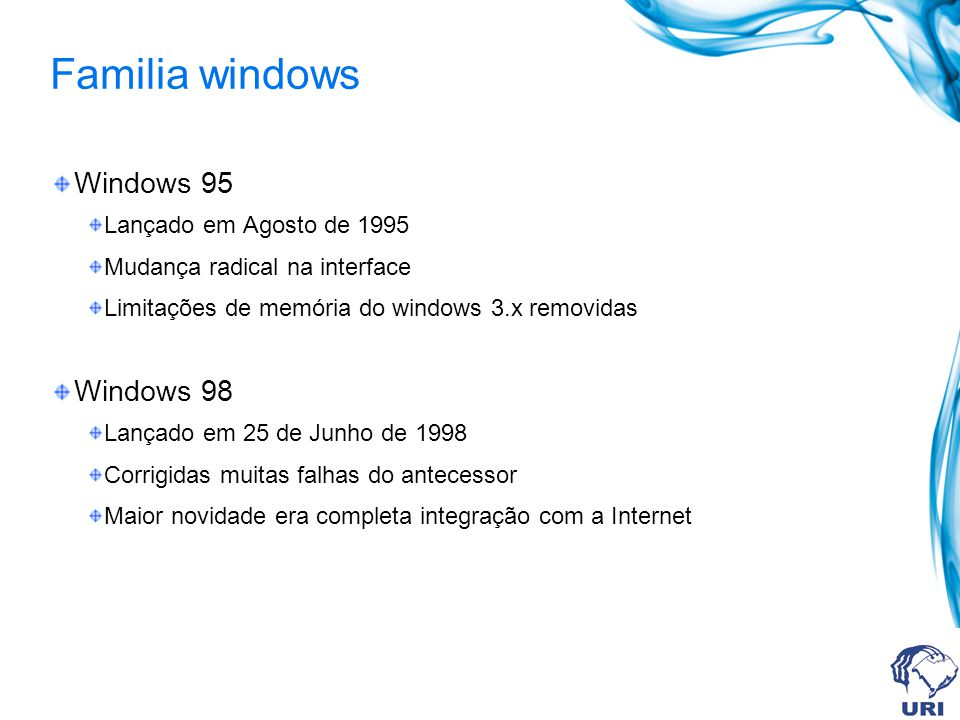 Familia windows Windows 95 Windows 98 Lançado em Agosto de 1995