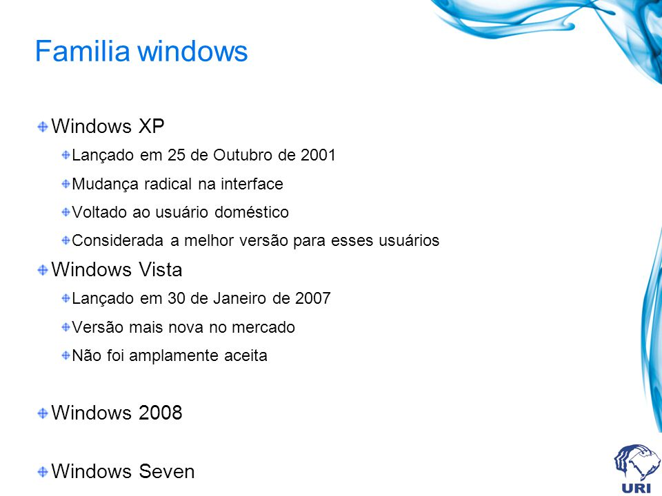 Familia windows Windows XP Windows Vista Windows 2008 Windows Seven