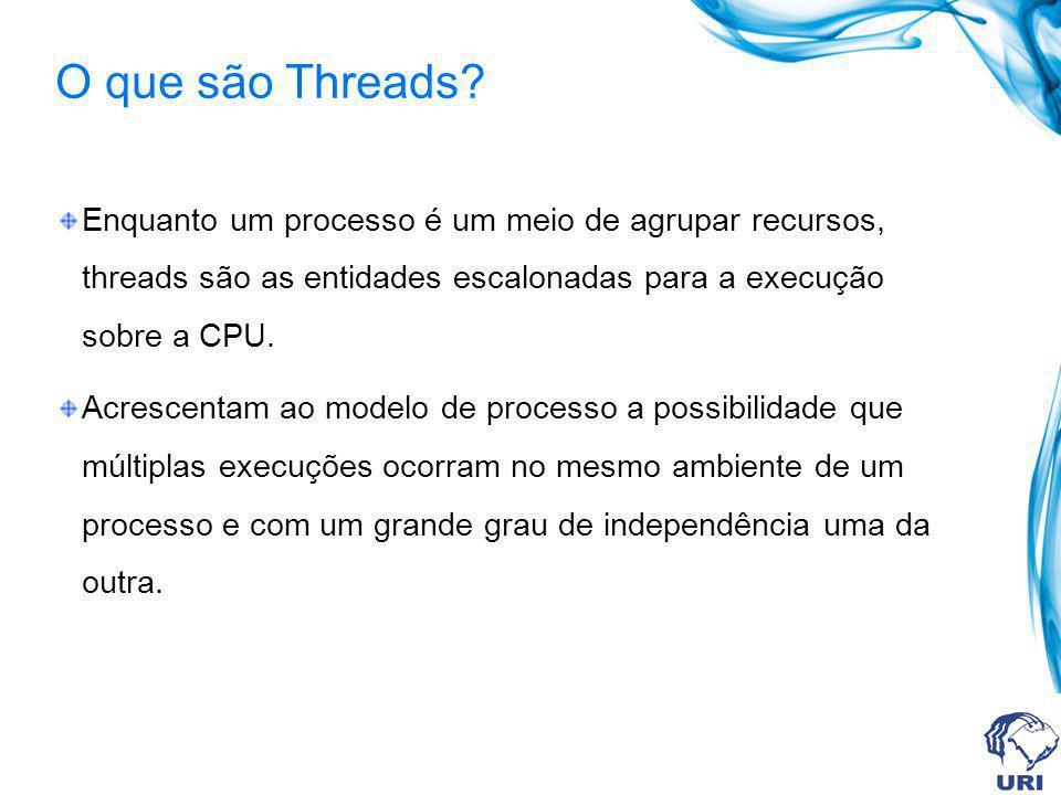O que são Threads Enquanto um processo é um meio de agrupar recursos, threads são as entidades escalonadas para a execução sobre a CPU.