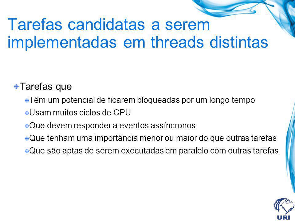 Tarefas candidatas a serem implementadas em threads distintas