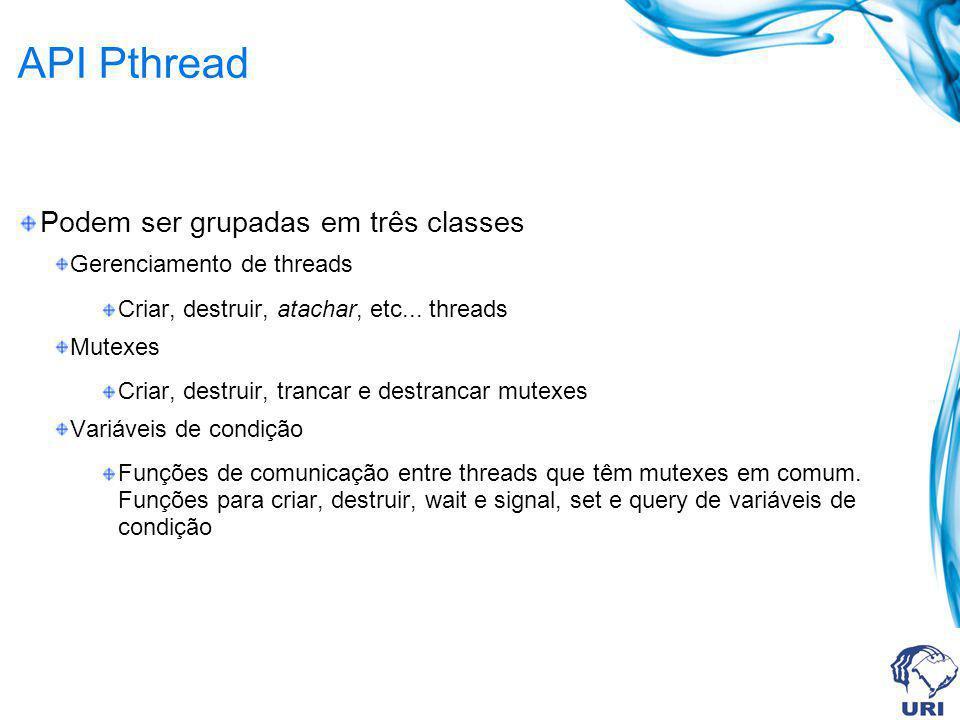 API Pthread Podem ser grupadas em três classes