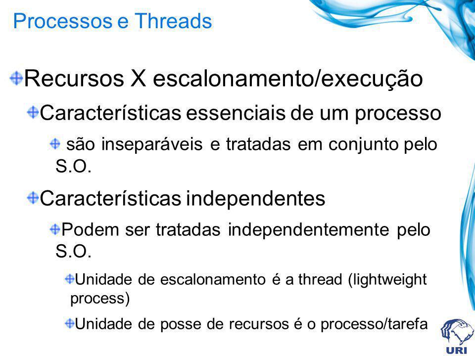 Recursos X escalonamento/execução