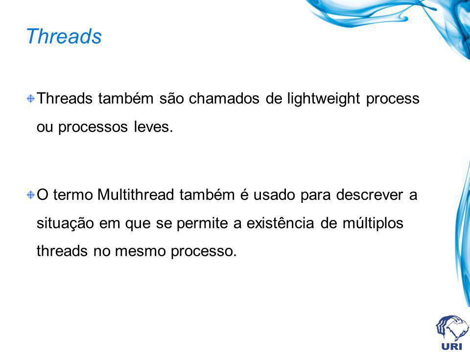Threads Threads também são chamados de lightweight process ou processos leves.