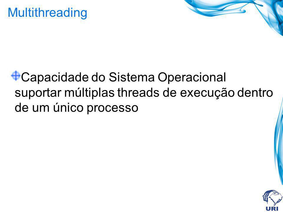 Multithreading Capacidade do Sistema Operacional suportar múltiplas threads de execução dentro de um único processo.