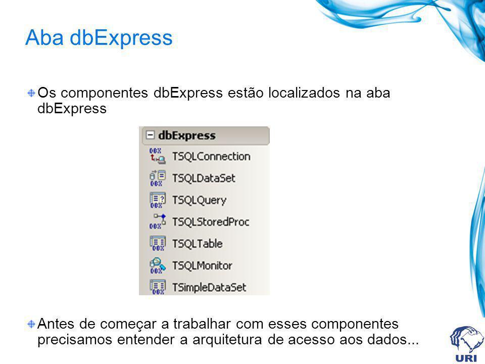 Aba dbExpress Os componentes dbExpress estão localizados na aba dbExpress.