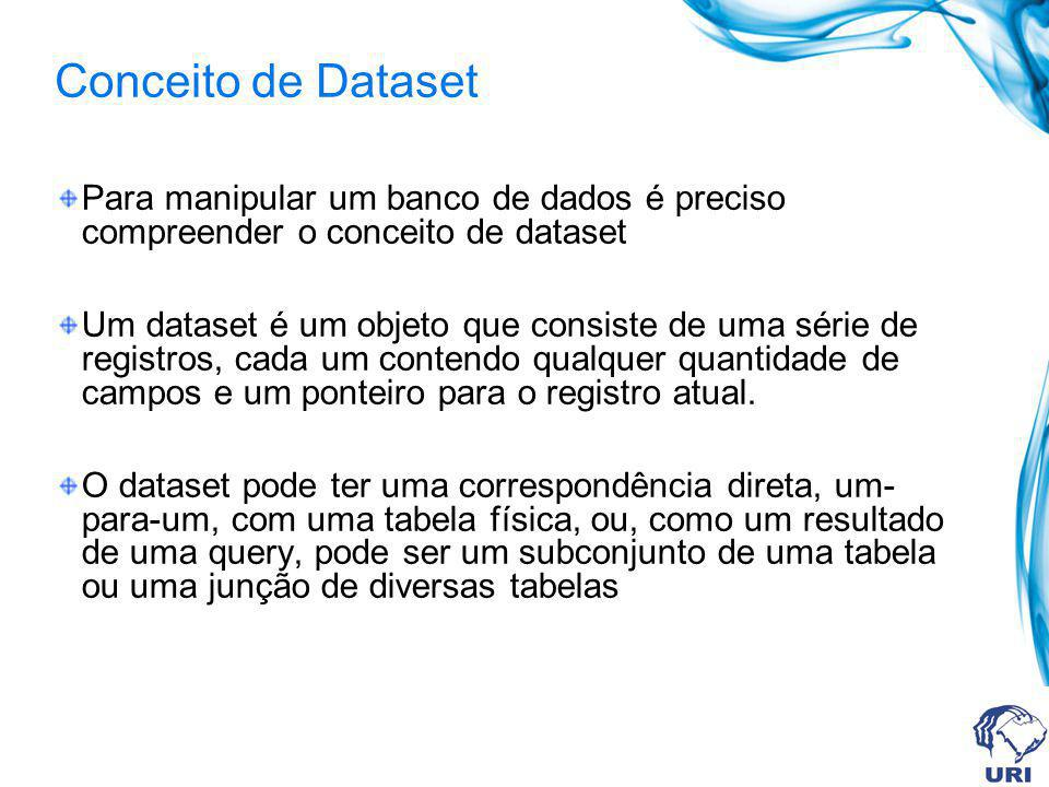 Conceito de Dataset Para manipular um banco de dados é preciso compreender o conceito de dataset.