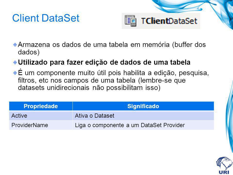 Client DataSet Armazena os dados de uma tabela em memória (buffer dos dados) Utilizado para fazer edição de dados de uma tabela.