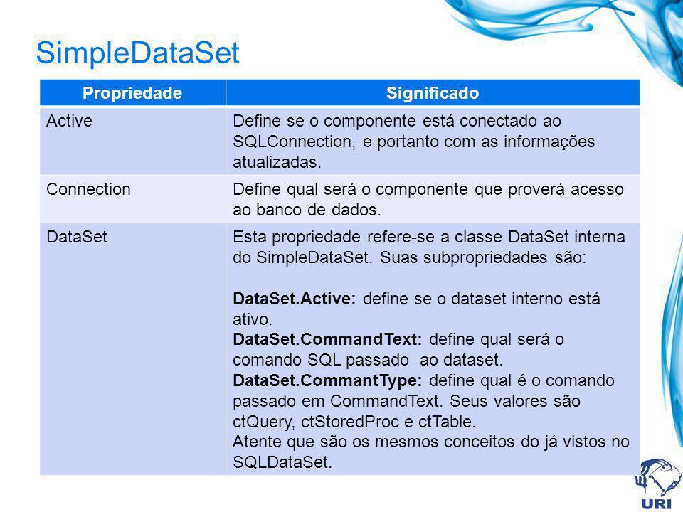 SimpleDataSet Propriedade Significado Active