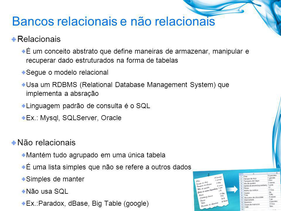 Bancos relacionais e não relacionais