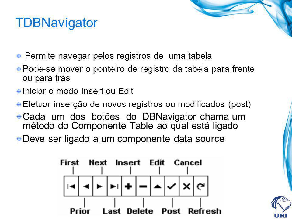 TDBNavigator Permite navegar pelos registros de uma tabela. Pode-se mover o ponteiro de registro da tabela para frente ou para trás.