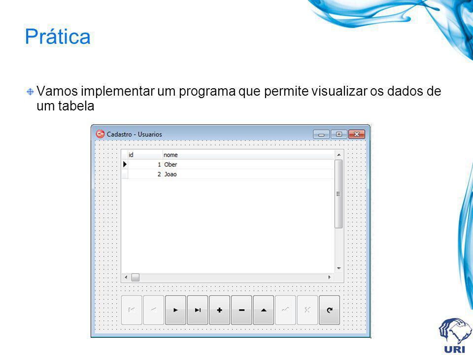 Prática Vamos implementar um programa que permite visualizar os dados de um tabela