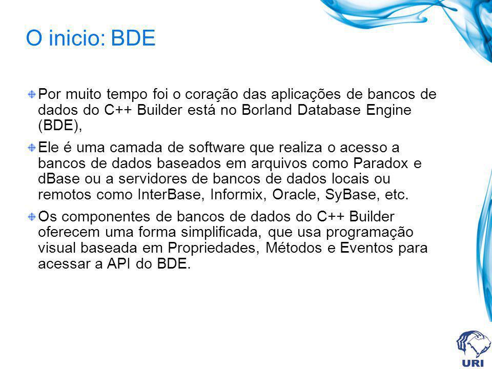 O inicio: BDE Por muito tempo foi o coração das aplicações de bancos de dados do C++ Builder está no Borland Database Engine (BDE),