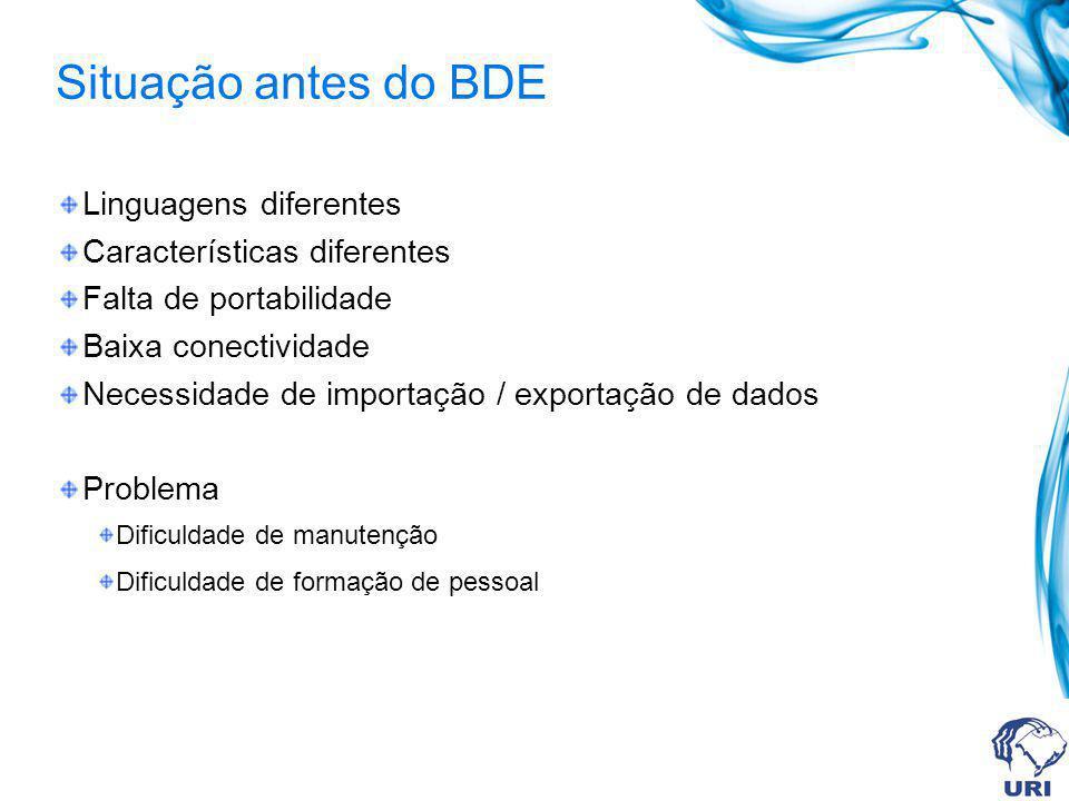 Situação antes do BDE Linguagens diferentes Características diferentes