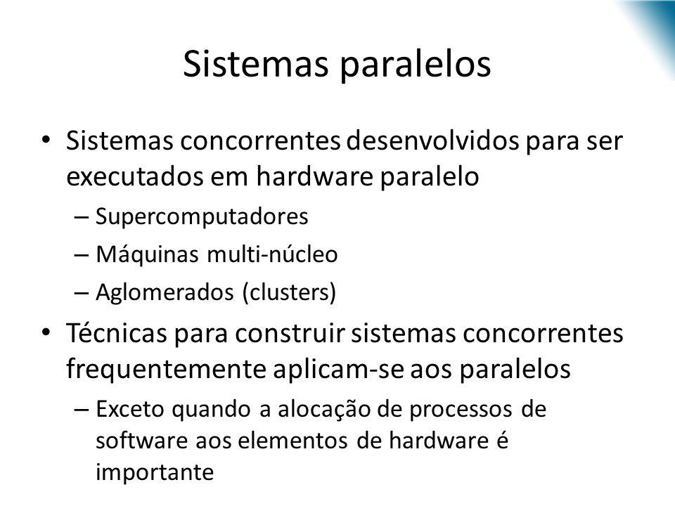 Sistemas paralelos Sistemas concorrentes desenvolvidos para ser executados em hardware paralelo. Supercomputadores.