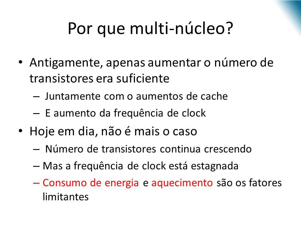 Por que multi-núcleo Antigamente, apenas aumentar o número de transistores era suficiente. Juntamente com o aumentos de cache.
