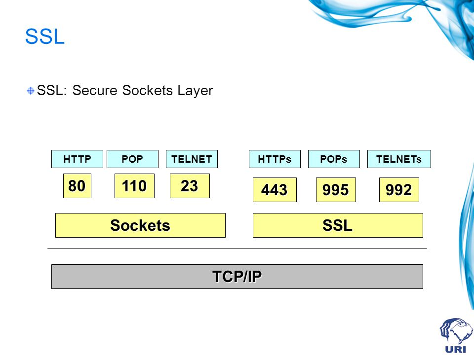 SSL 80 110 23 443 995 992 Sockets SSL TCP/IP SSL: Secure Sockets Layer