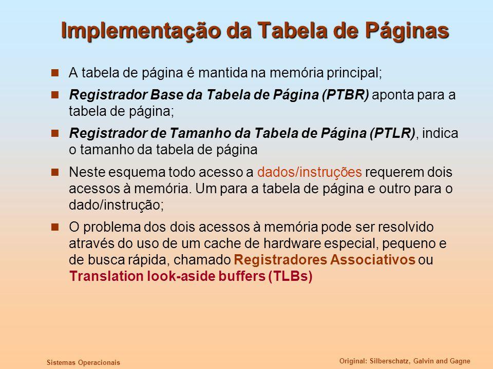 Implementação da Tabela de Páginas