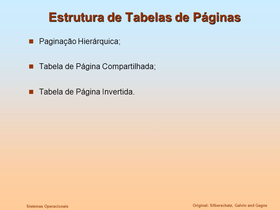 Estrutura de Tabelas de Páginas