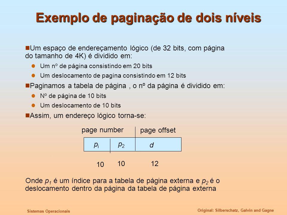 Exemplo de paginação de dois níveis