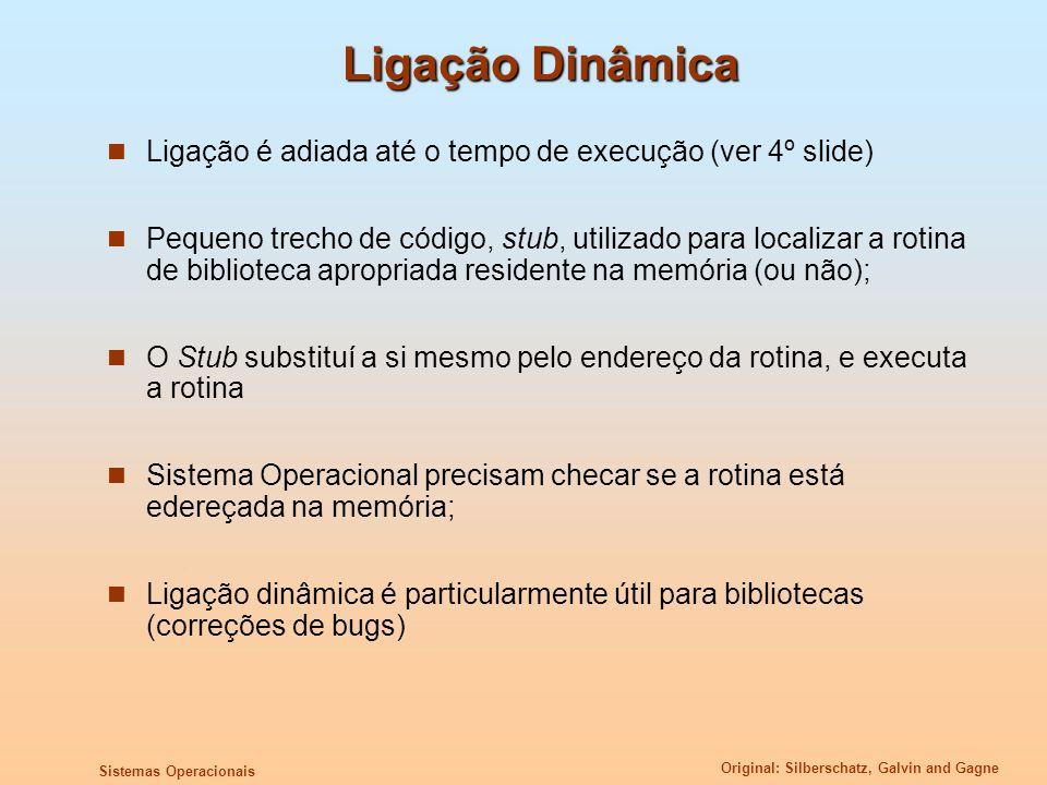 Ligação Dinâmica Ligação é adiada até o tempo de execução (ver 4º slide)