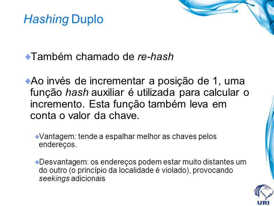 Hashing Duplo Também chamado de re-hash