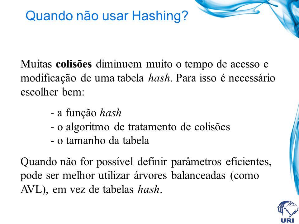 Quando não usar Hashing