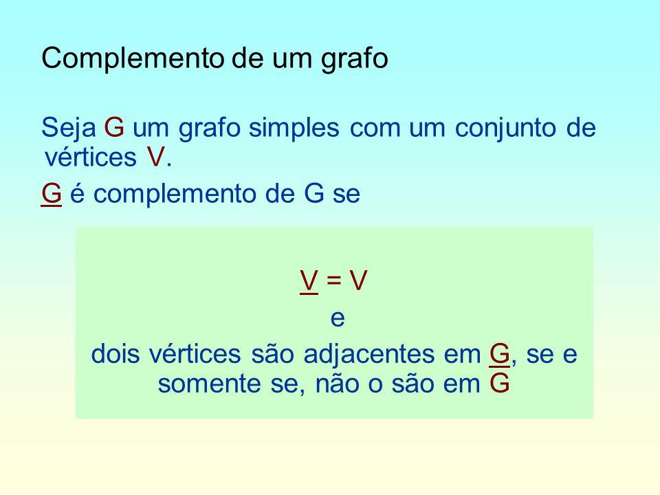 dois vértices são adjacentes em G, se e somente se, não o são em G