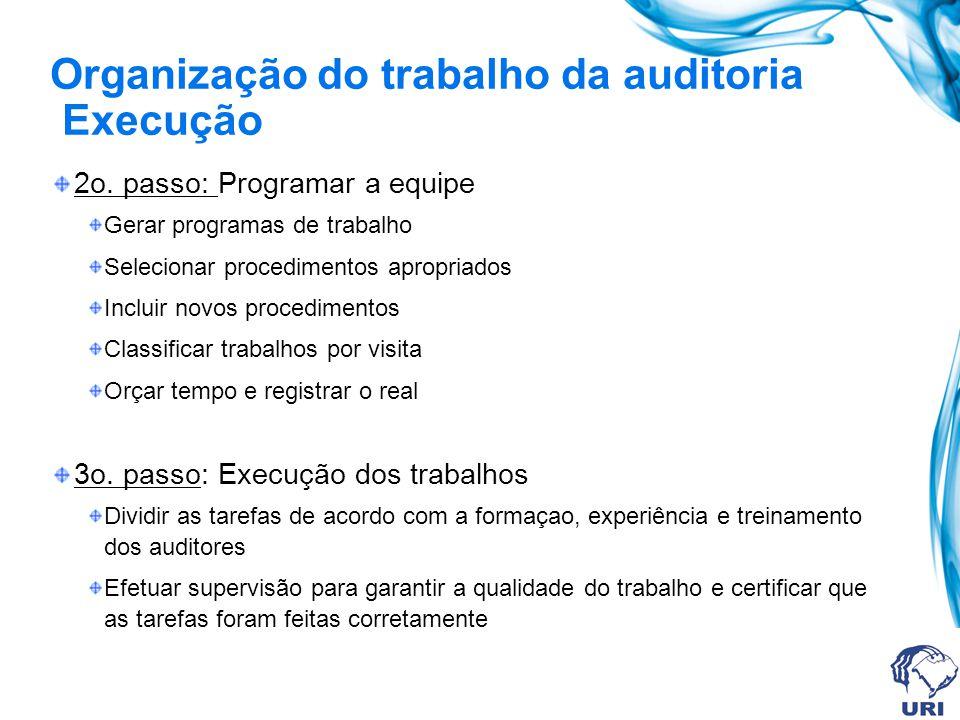 Organização do trabalho da auditoria Execução