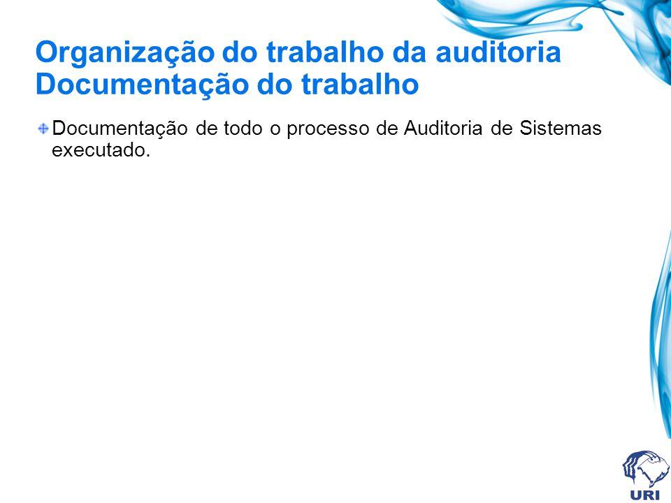 Organização do trabalho da auditoria Documentação do trabalho