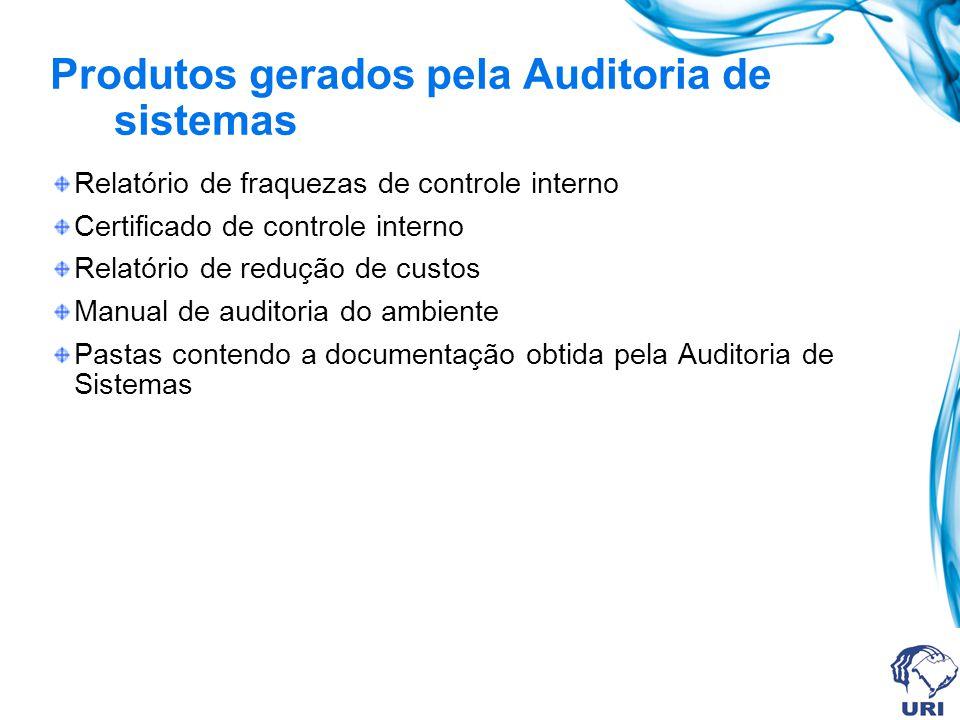Produtos gerados pela Auditoria de sistemas