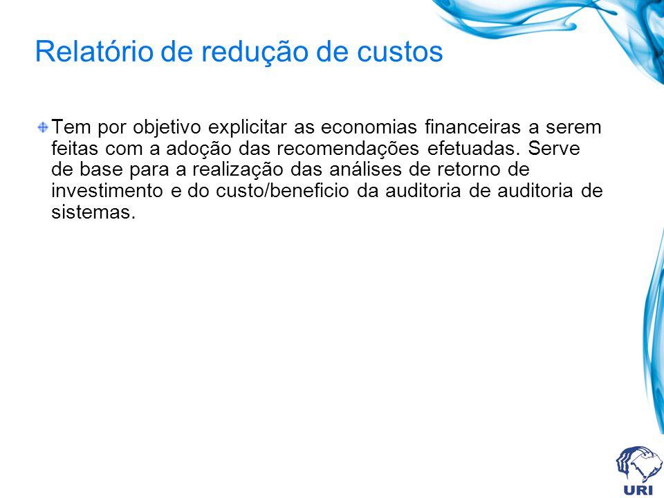 Relatório de redução de custos