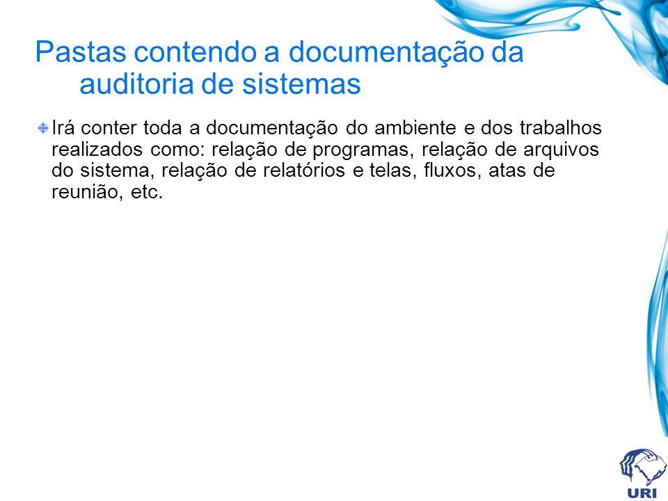 Pastas contendo a documentação da auditoria de sistemas