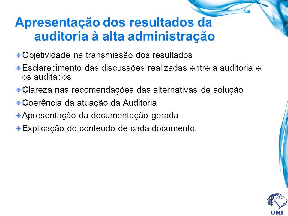 Apresentação dos resultados da auditoria à alta administração