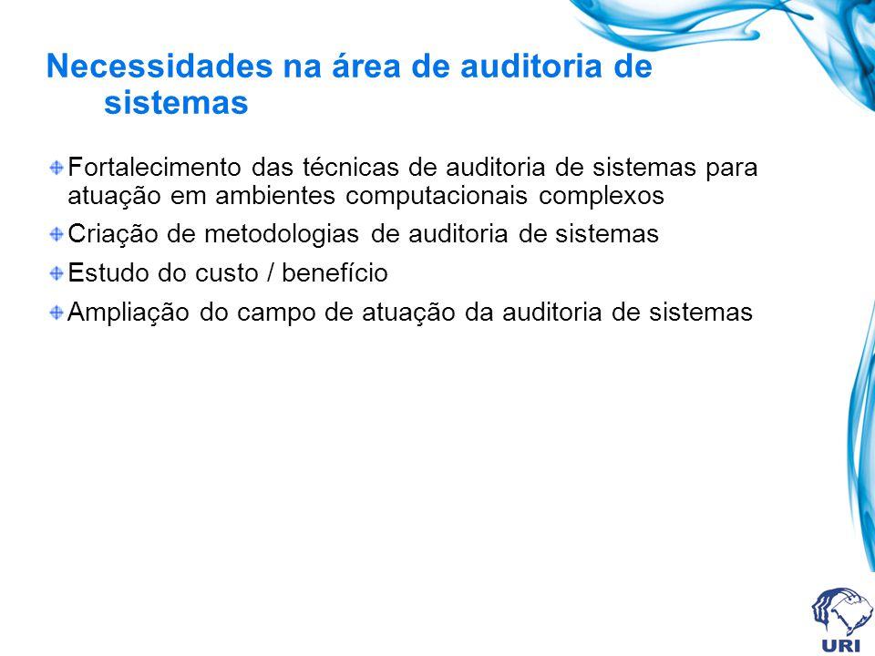 Necessidades na área de auditoria de sistemas
