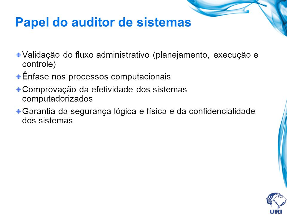 Papel do auditor de sistemas