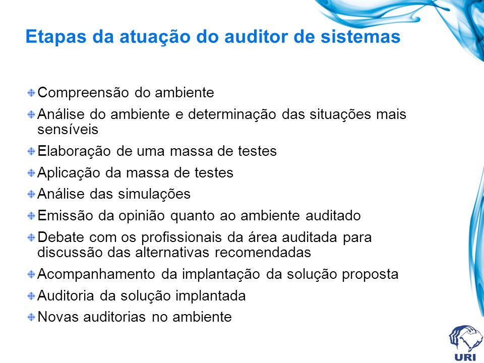 Etapas da atuação do auditor de sistemas