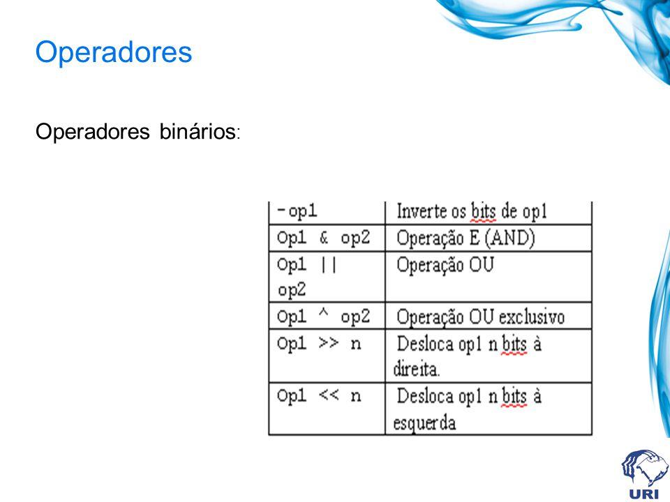 Operadores Operadores binários: 41