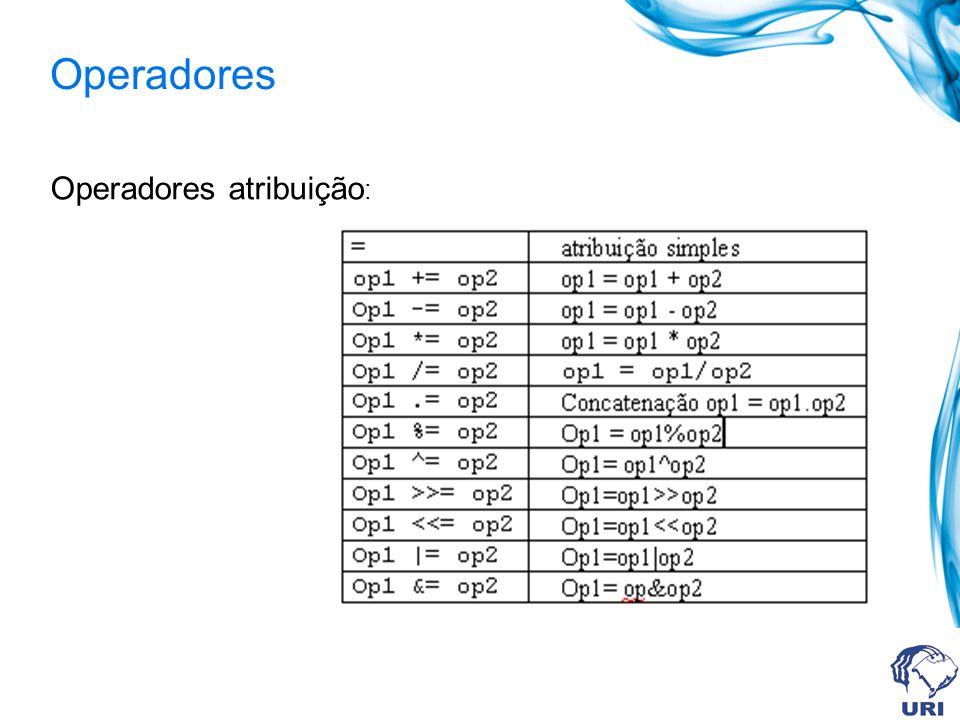 Operadores Operadores atribuição: 43