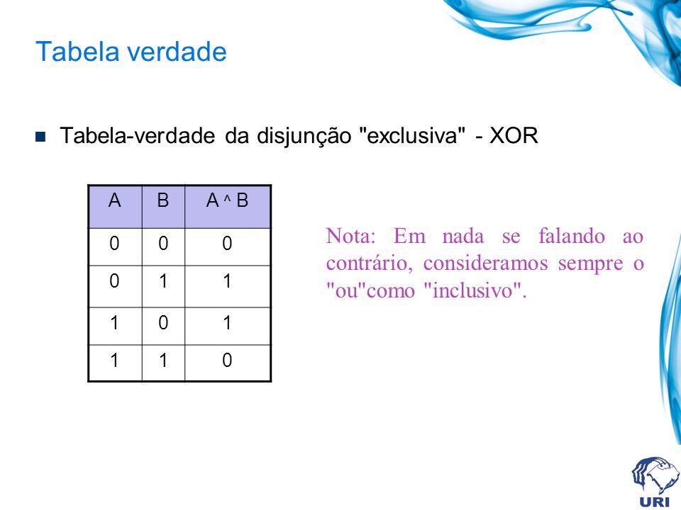 Tabela verdade Tabela-verdade da disjunção exclusiva - XOR