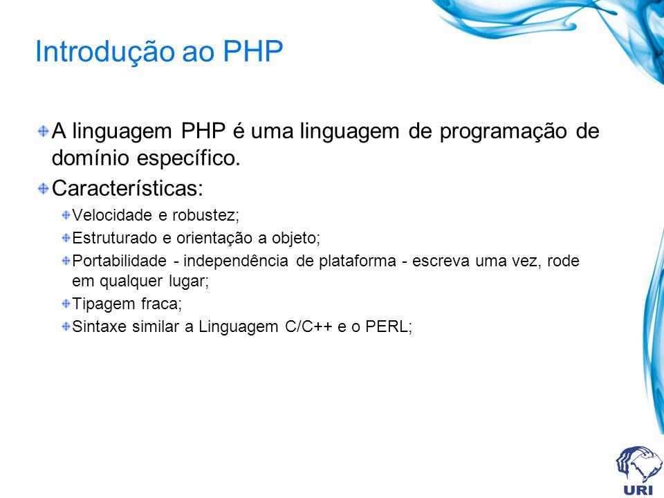 Introdução ao PHP A linguagem PHP é uma linguagem de programação de domínio específico. Características: