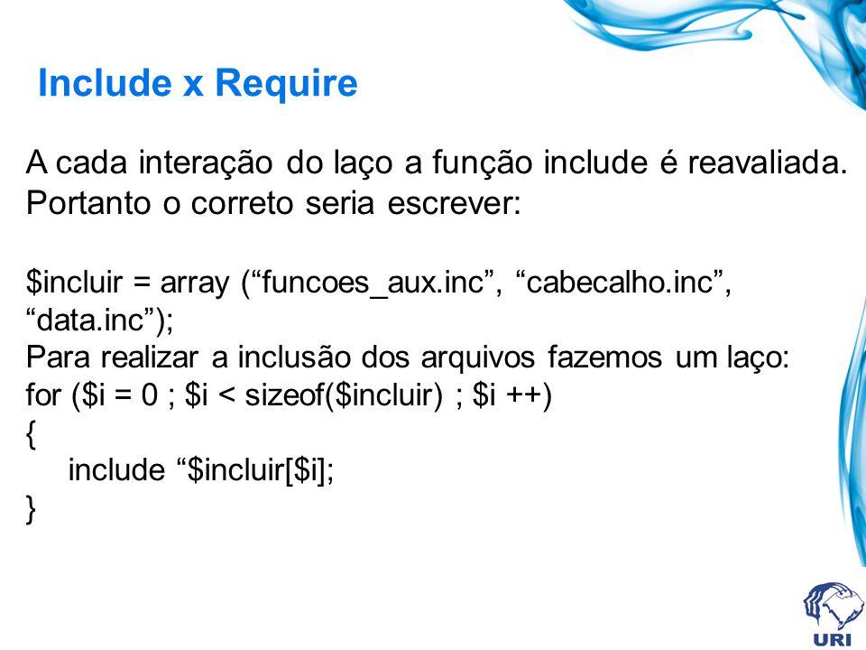 Include x Require A cada interação do laço a função include é reavaliada. Portanto o correto seria escrever: