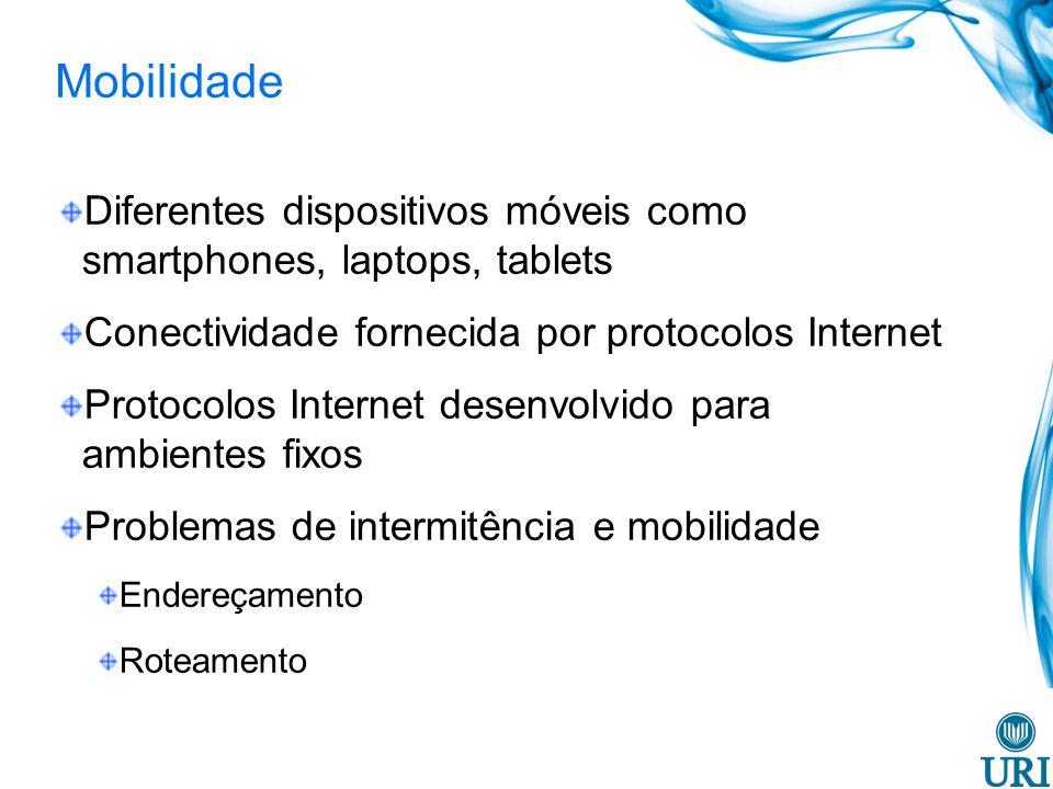 Mobilidade Diferentes dispositivos móveis como smartphones, laptops, tablets. Conectividade fornecida por protocolos Internet.