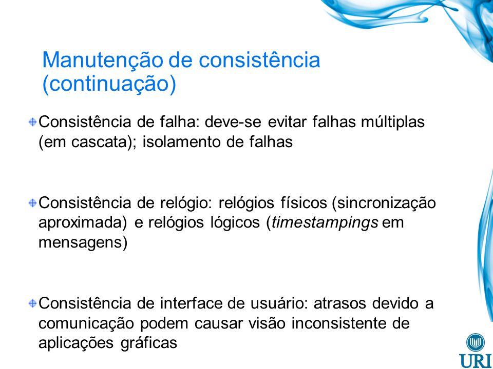 Manutenção de consistência (continuação)