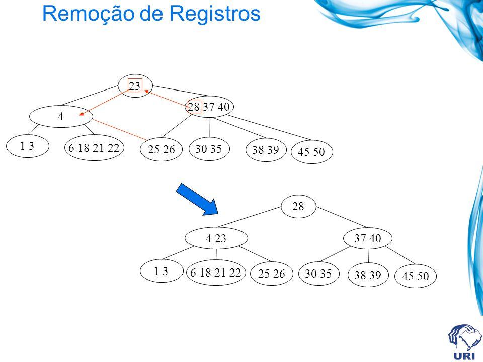Remoção de Registros 23. 28 37 40. 6 18 21 22. 1 3. 30 35. 45 50. 25 26. 4. 38 39. 28. 37 40.